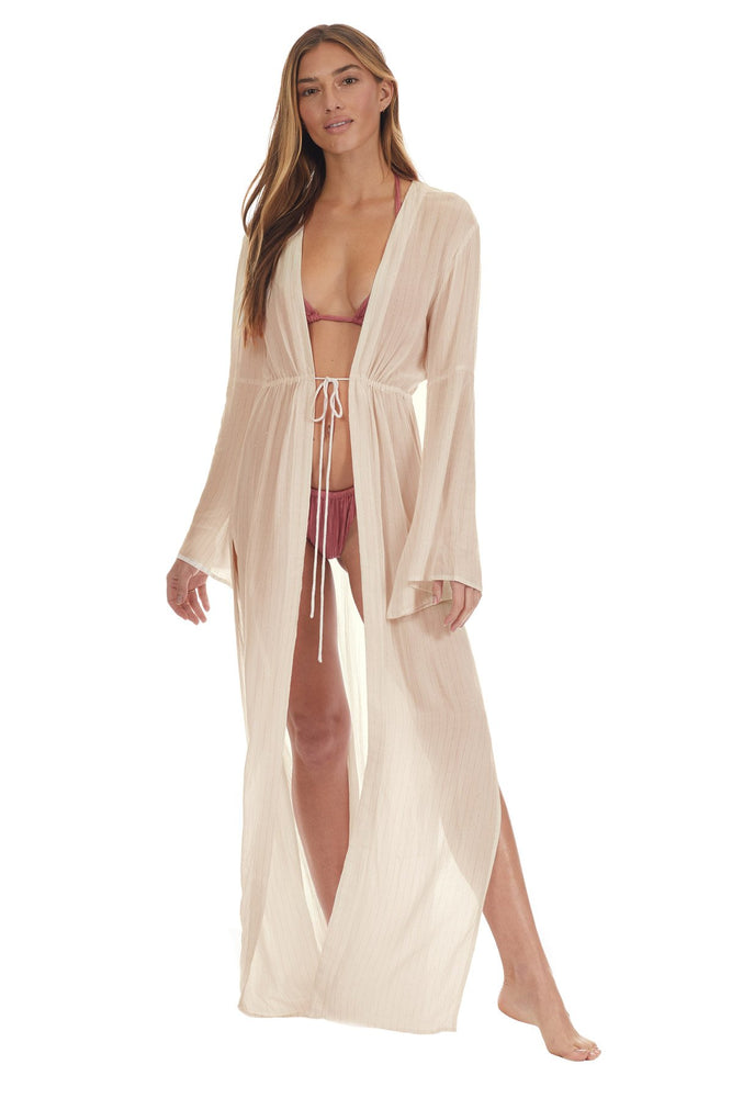 Load image into Gallery viewer, White Kimono Beach Coverup