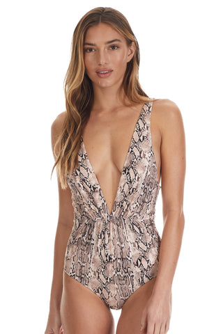 Snake Print Plunging One Piece