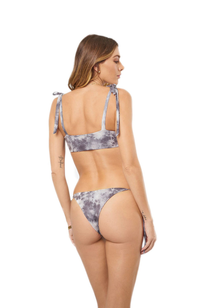 Load image into Gallery viewer, Grey tie-dye tie-side cheeky bottoms
