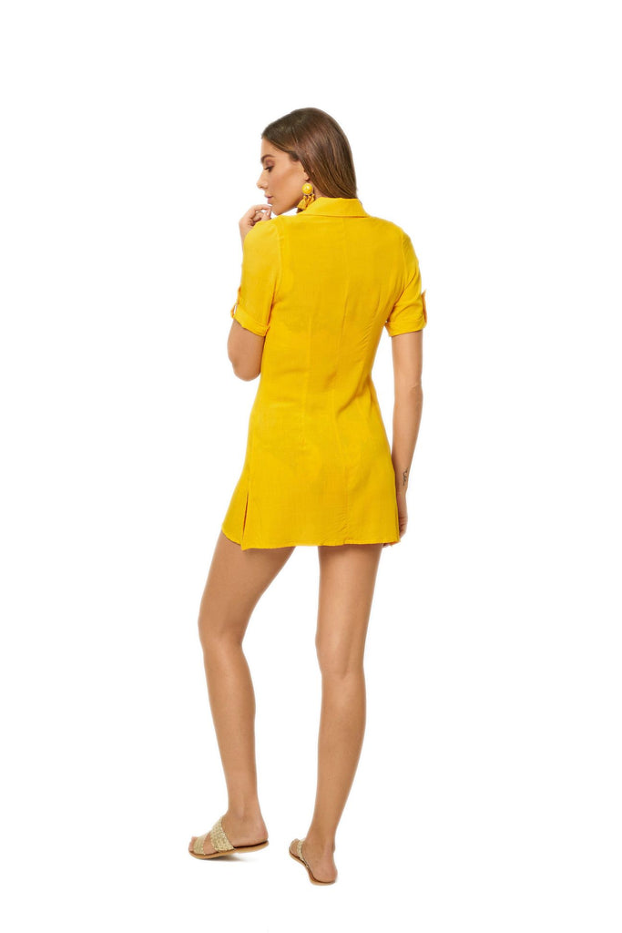 Yellow sleeved button up dress