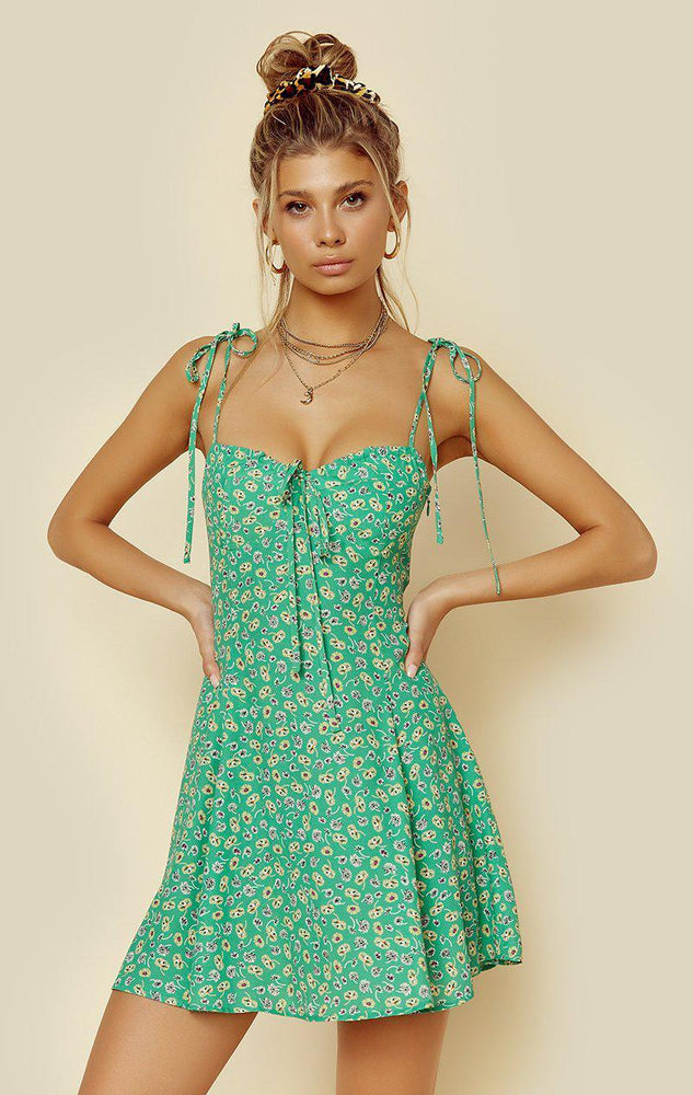Load image into Gallery viewer, Floral green summer dress