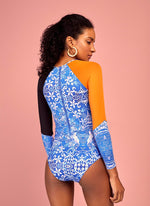 Blue print long sleeve one piece