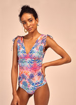 Pink printed reversible one piece