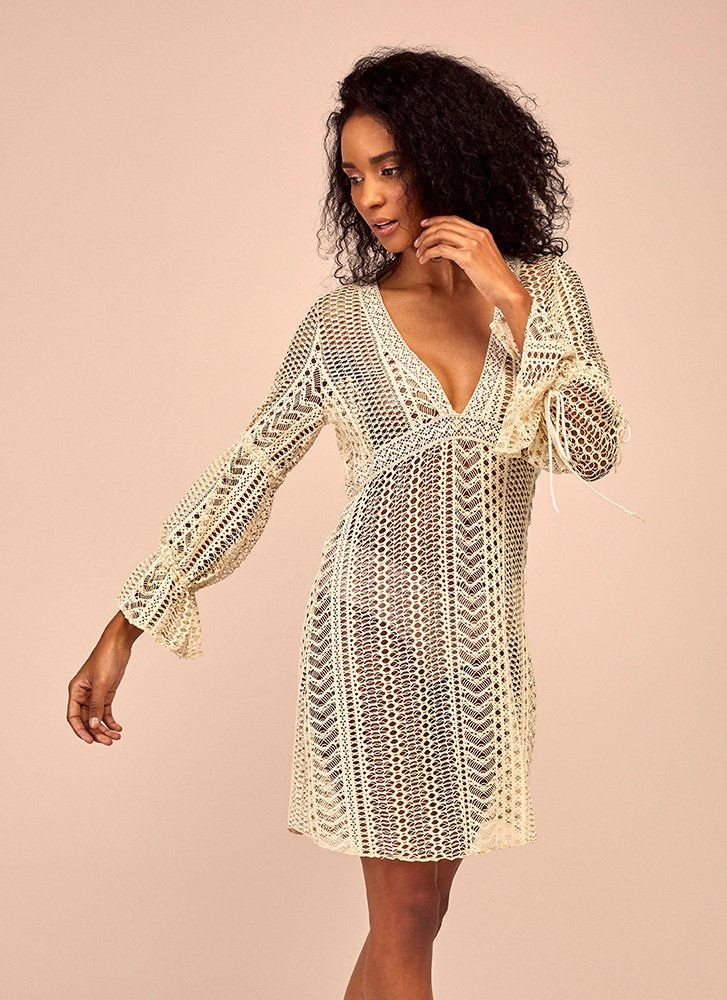 Off white lace cover up dress