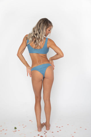 Blue cheeky low rise bottoms