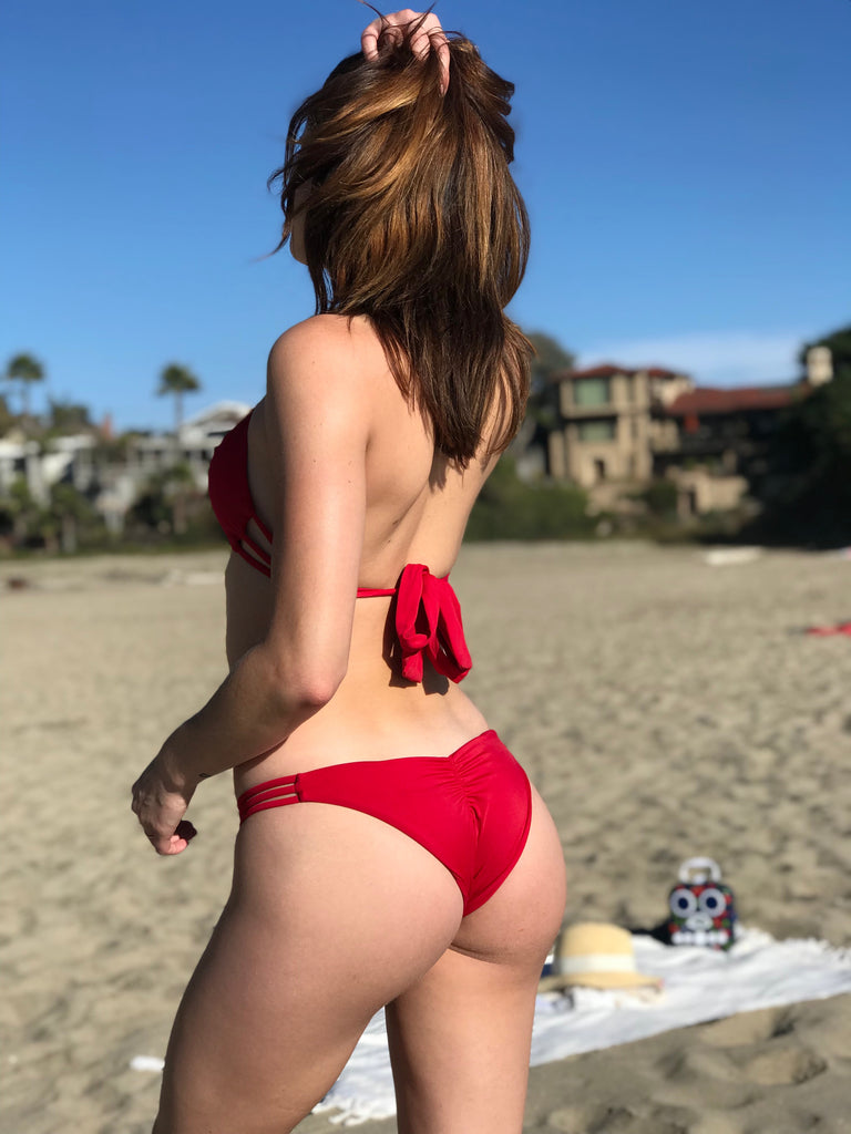 Red ruched bottoms