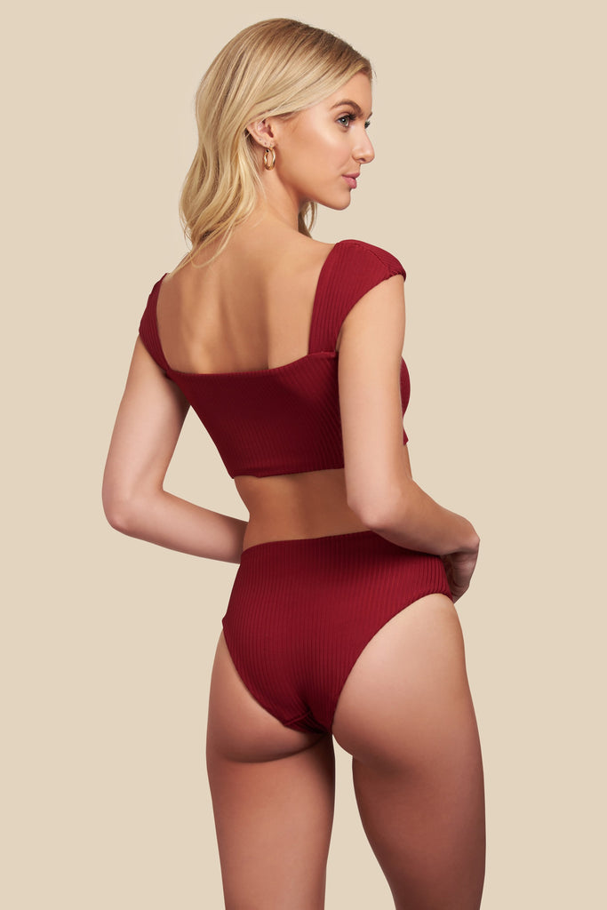 Red reversible high waisted bottoms
