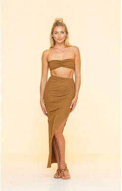 Long Brown Skirt With Side Slit
