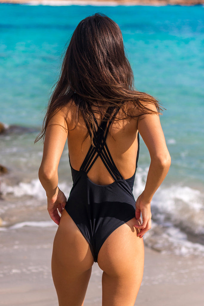 Black cross back one piece