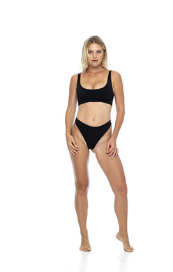 Load image into Gallery viewer, High Cut Medium Coverage Black Simple Bikini Bottom