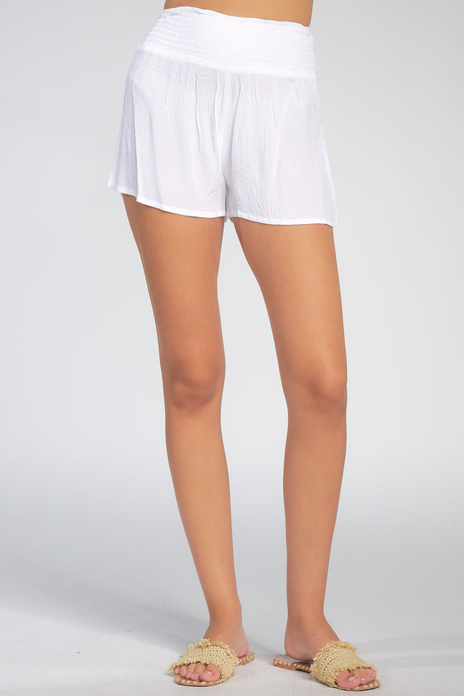 Load image into Gallery viewer, High Waisted Smocked White Short