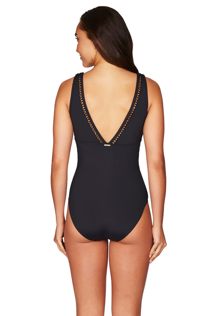 full coverage black one piece