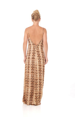 Maxi Dress Open Back Sand Viper Print