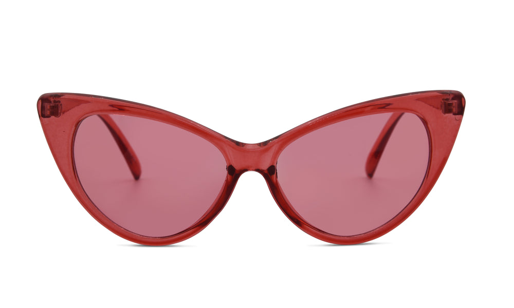 Load image into Gallery viewer, Red clear dramatic cat eye glasses