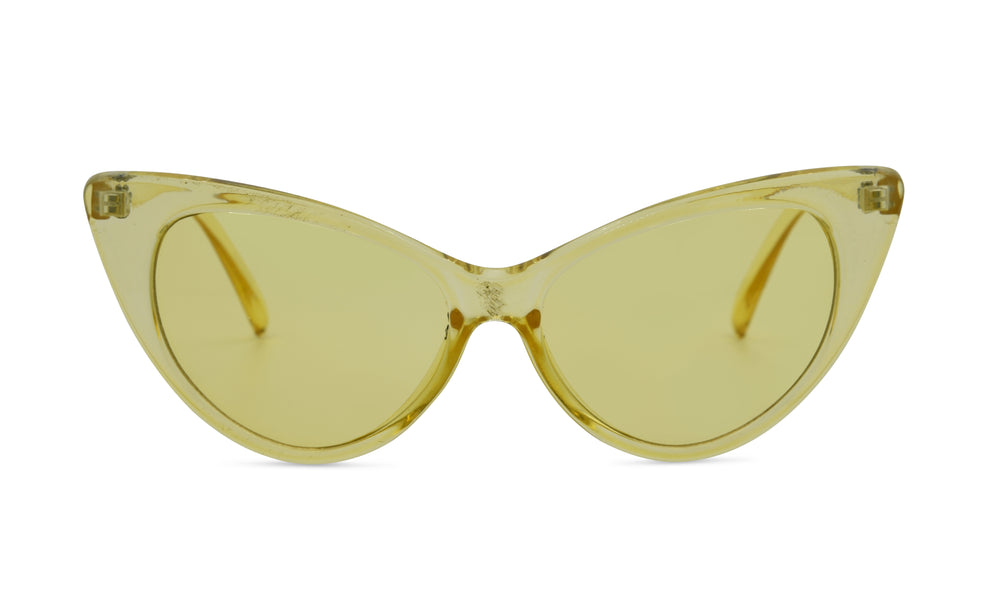 Load image into Gallery viewer, Yellow clear dramatic cat eye glasses