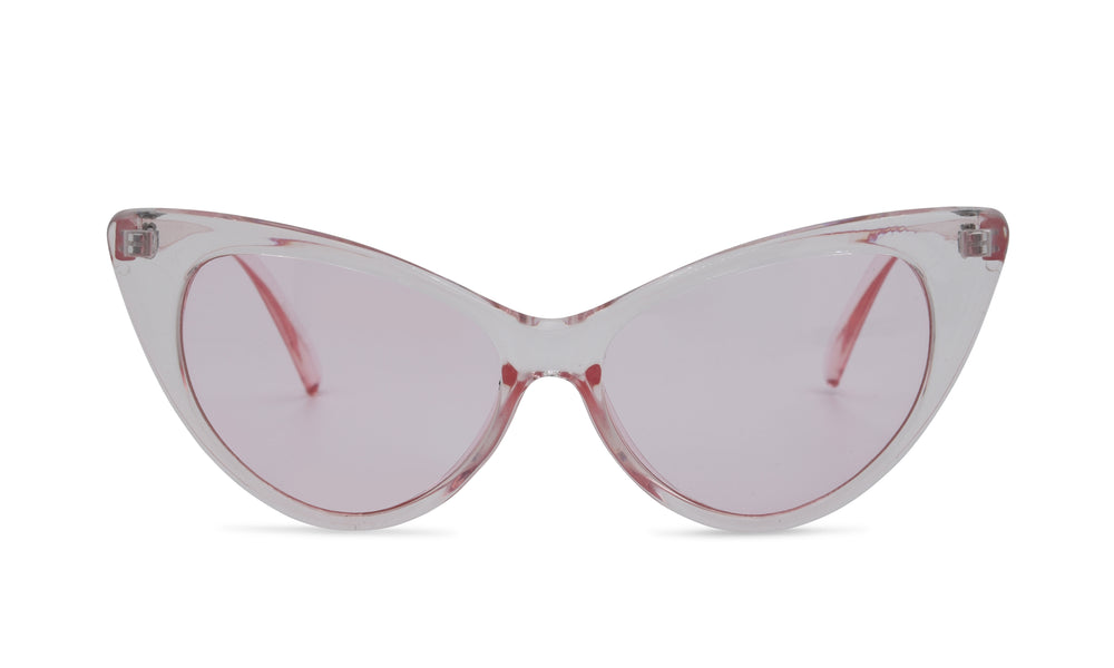 Load image into Gallery viewer, Pink clear dramatic cat eye glasses