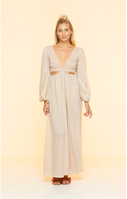 Long Gray Plunging Neckline Dress