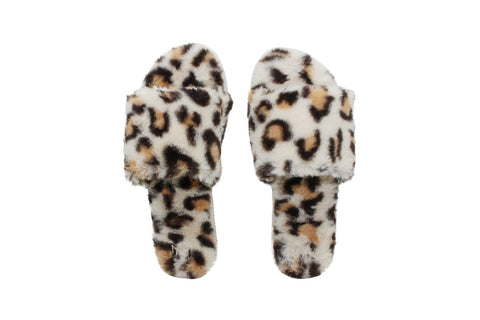 Leopard Print Fur Slippers