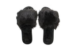 Black Fur Slippers