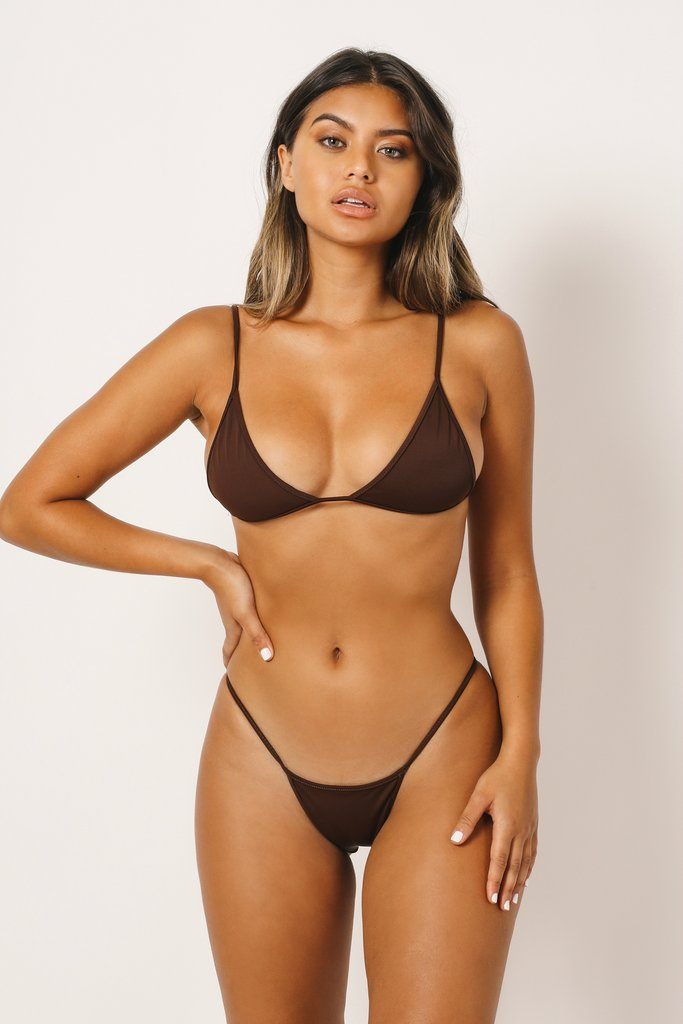 Brown thin strap moderate coverage bottoms