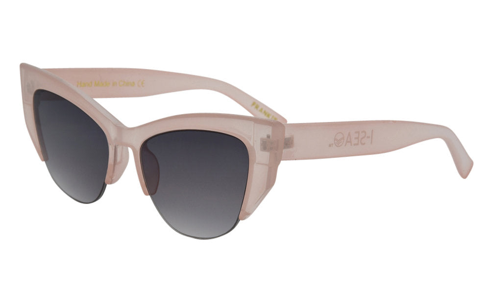Clear pink thick cat eye glasses