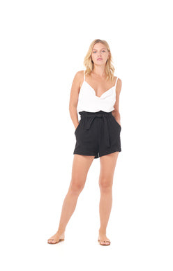 Black Short w Pockets and Bow Sash
