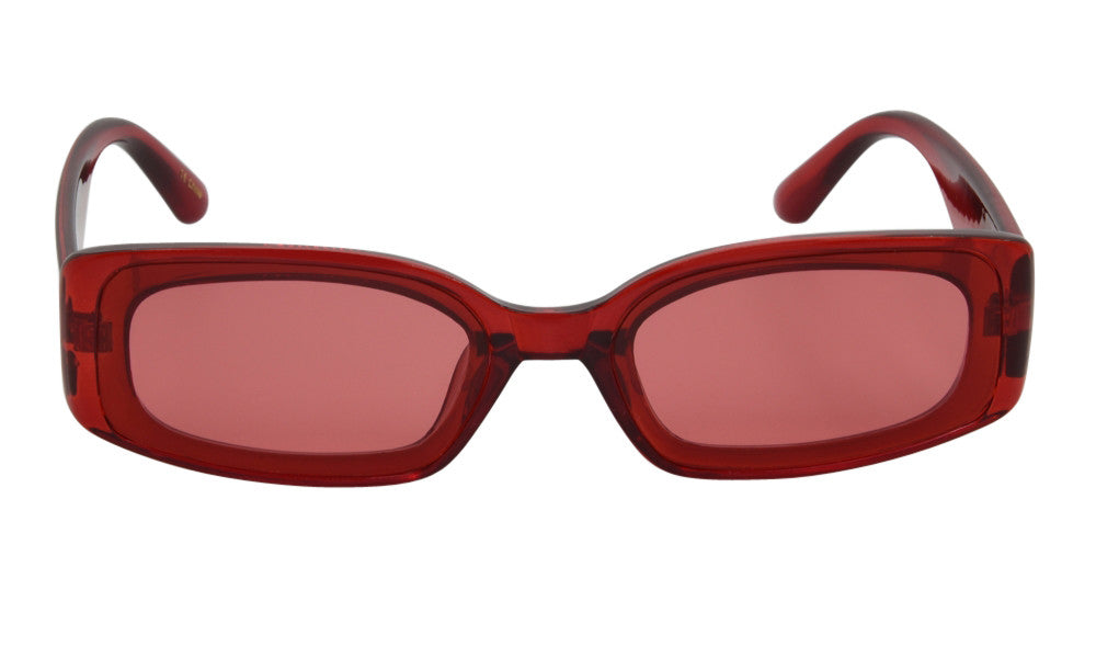 Red clear thick rectangle glasses