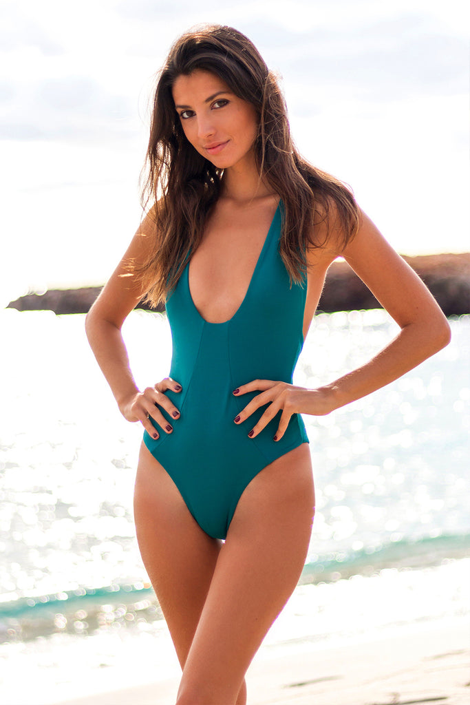 Blue plunge one piece