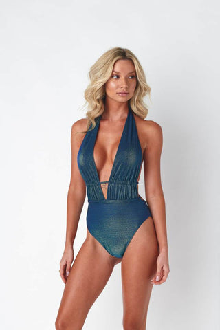 Plunging blue one piece with halter top