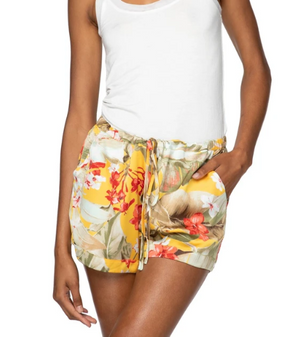 Load image into Gallery viewer, Yellow floral print shorts