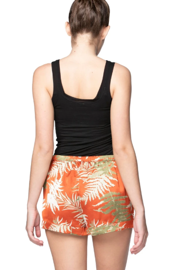 Red fern print shorts