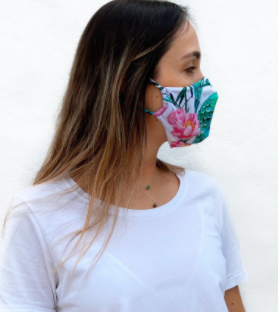 White Peacock Print Reusable Mask
