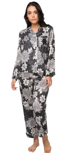 Load image into Gallery viewer, Black Floral Print Pajamas