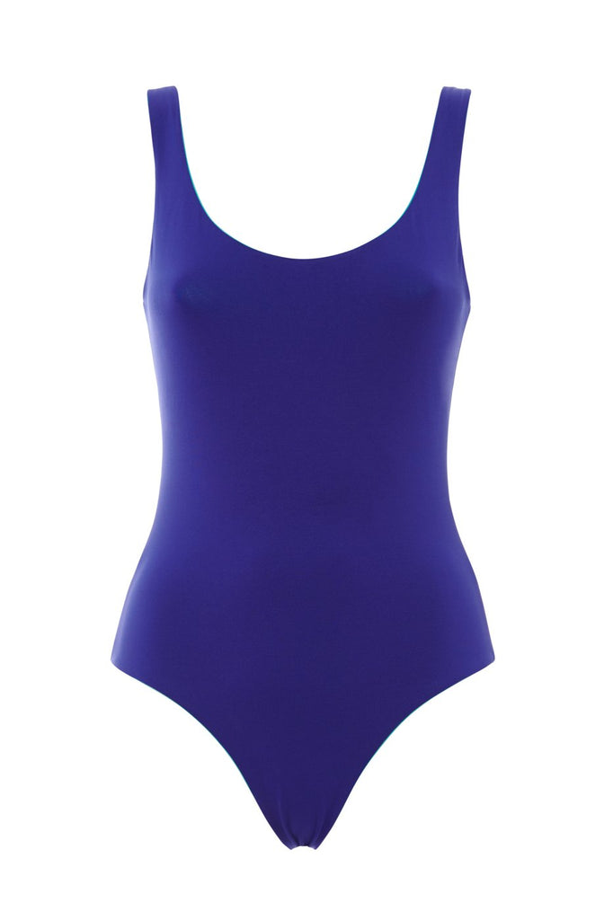 Blue reversible one piece