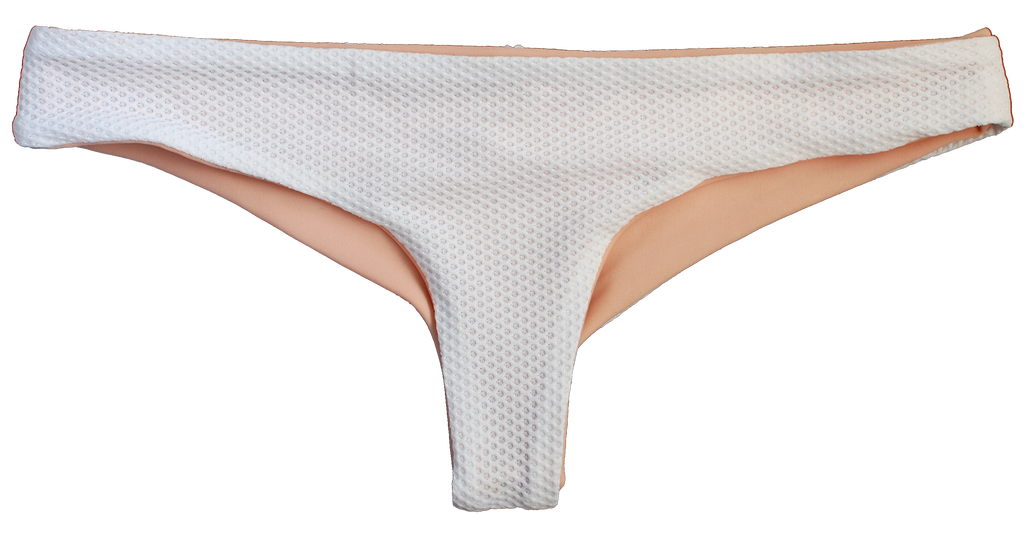 White textured low rise cheeky bottoms