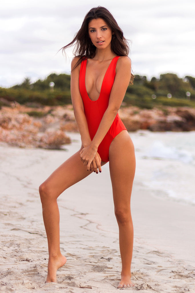 Red plunge one piece
