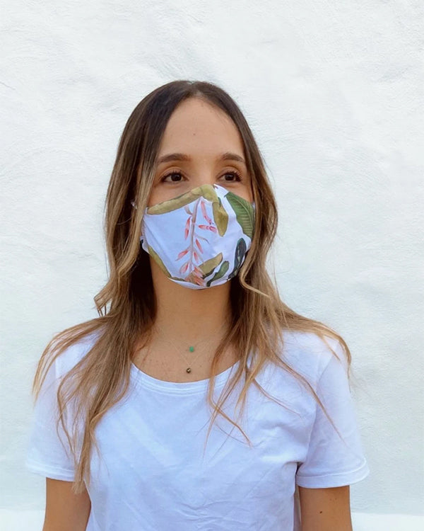 White mask with tropical palm print