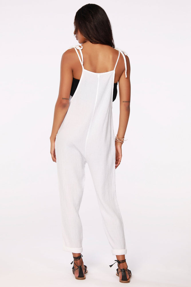 Load image into Gallery viewer, White Cotton Beach Jumpsuit