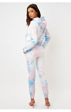 Pink and blue tie-dye sweats