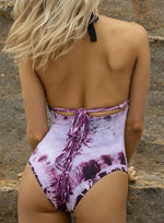 Tie Dye Plunging Halter One Piece Reversible