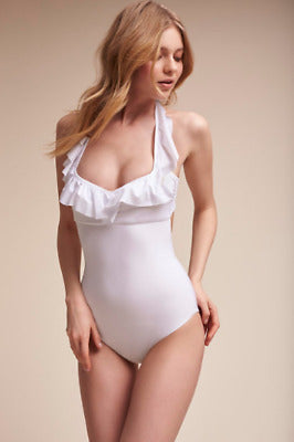 White ruffle one piece