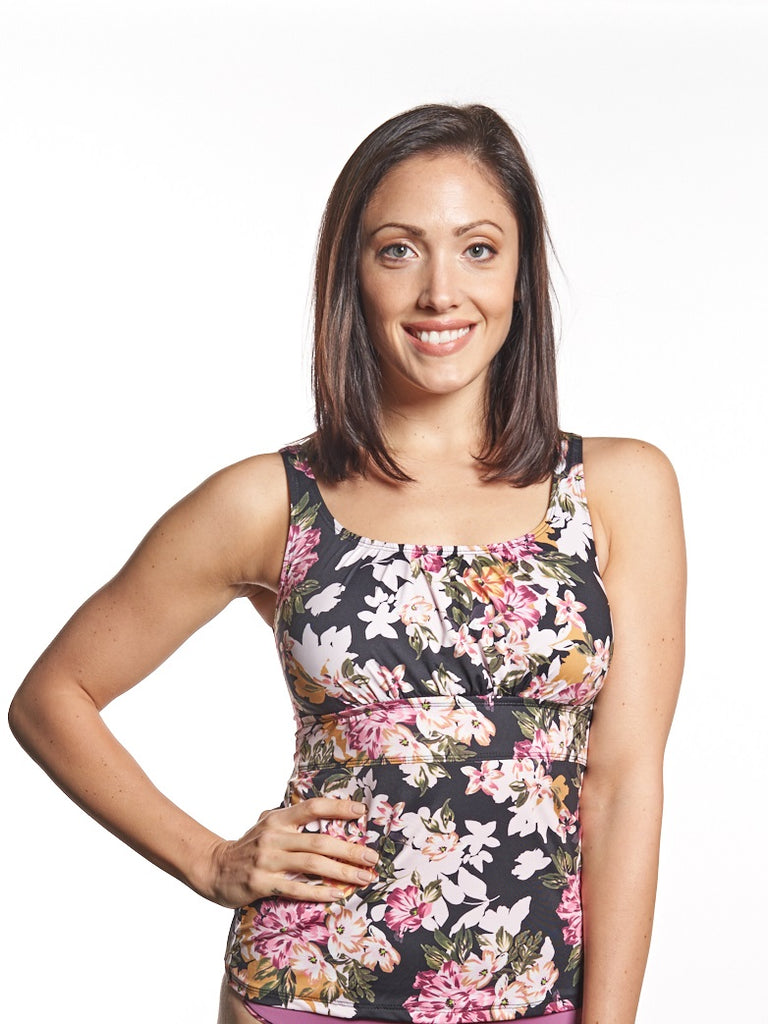 Black floral tankini top