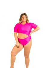 Cut out hot pink one piece