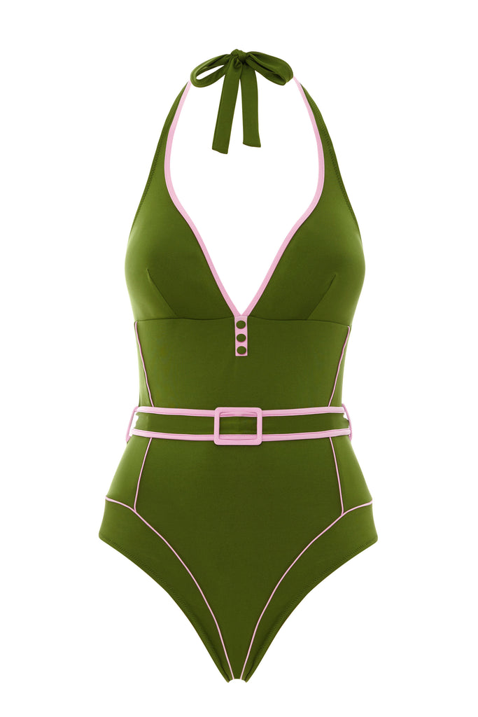 Green halter neck one piece