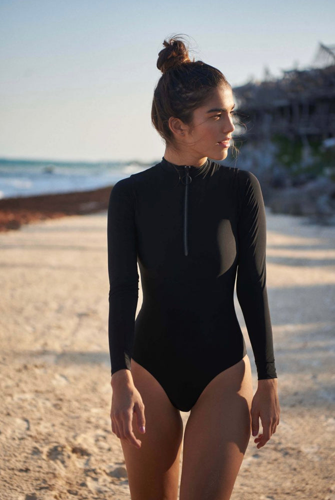 Black long sleeve one piece