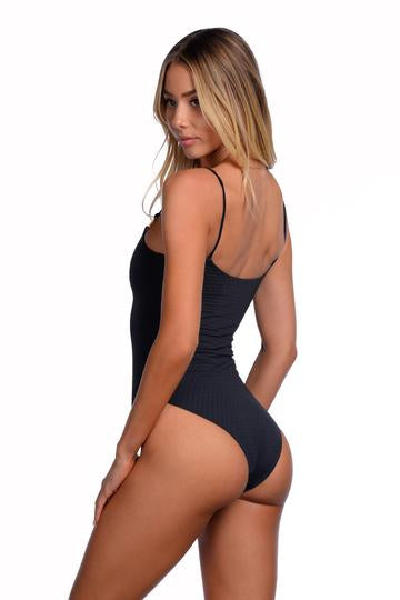 Black reversible textured one piece
