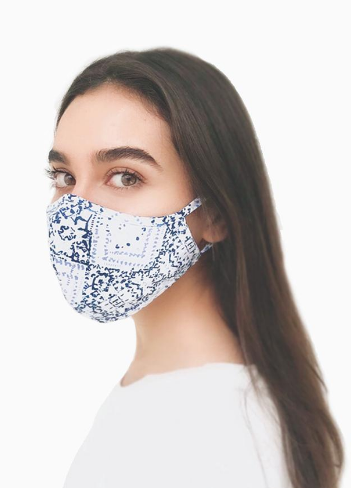 White Face Mask With Blue Print