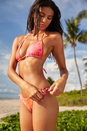 Load image into Gallery viewer, Reversible Triangle Bikini Top In Orange And Pink Tie Dye
