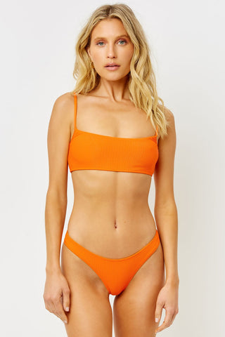 Orange Ribbed Bandeau Top