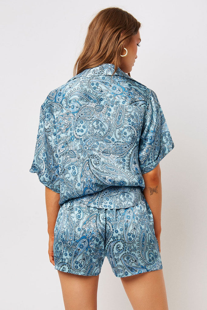 Women's Blue Paisley Silk Boxers